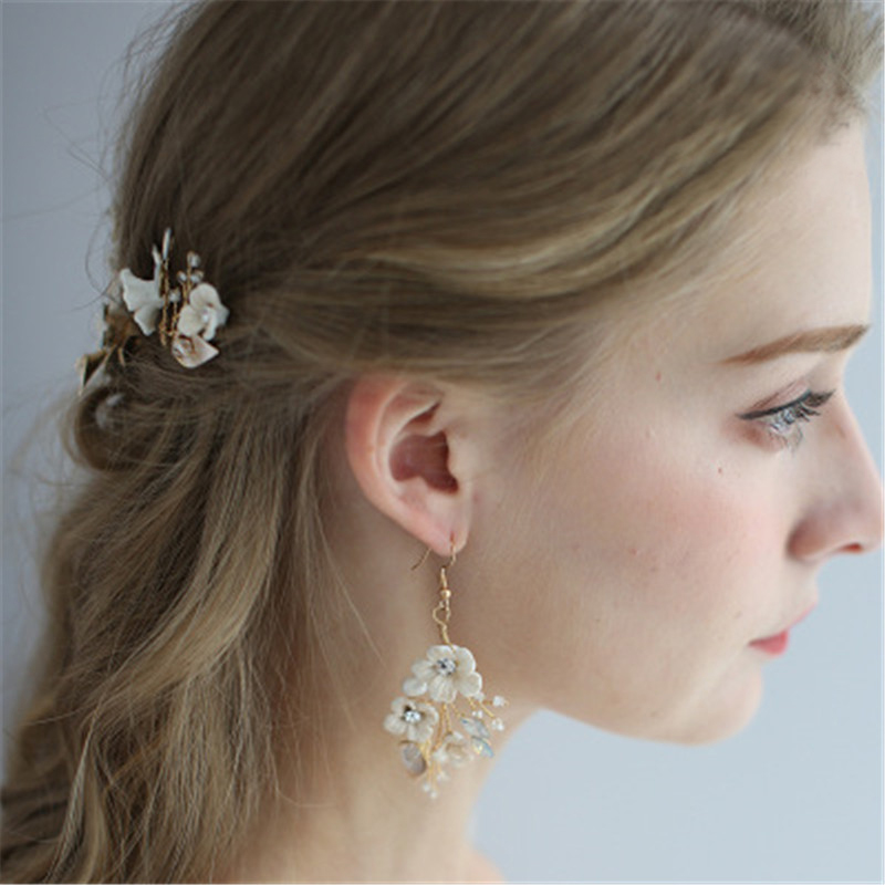 New Pearl Hair Comb For Bride Floral Hairpin Clips Wedding Jewelry Accessories Bridal Hair Clip Sets Bride Headwear Earrings set