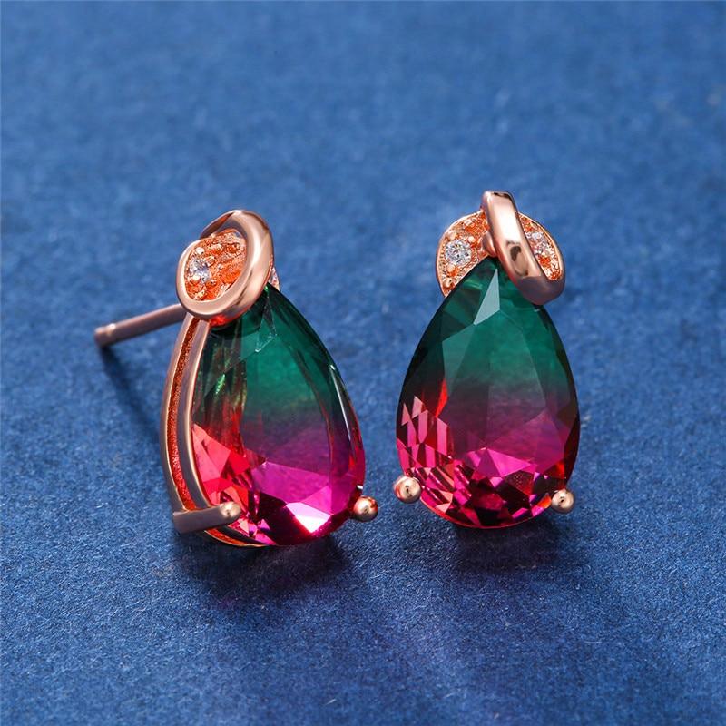Rainbow Gradient Water Drop Zircon Stud Earrings For Women White Gold/Rose Gold Multicolor Crystal Earring Female Mystic Jewelry
