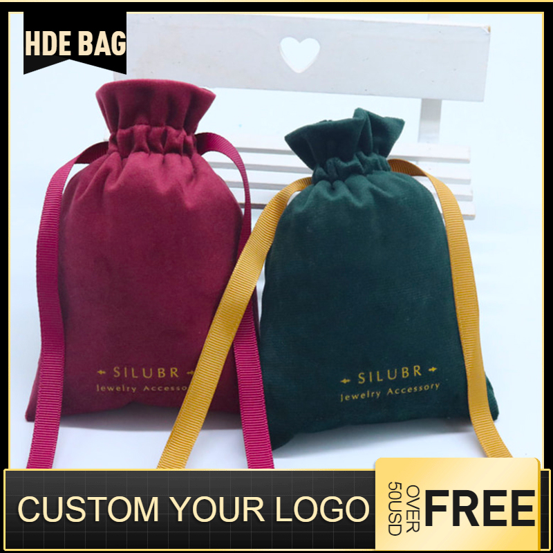 Silk Velvet With Ribbon Drawstring Bag Makeup Lipstick Jewelry Storage Packaging Bags Wedding Gift Pouches Custom Logo