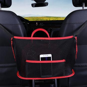 Nowy samochód dwa schowek w fotelu kieszeń netto kieszeń na samochód kieszeń na torebkę uchwyt poręczy dla zwierząt zwiększ przestrzeń magazynowa samochodu tanie i dobre opinie CN (pochodzenie) Other polyester + mesh Car Seat Storage Mesh Bag about 40*15*26cm 15 75*5 90*10 24in black red and black