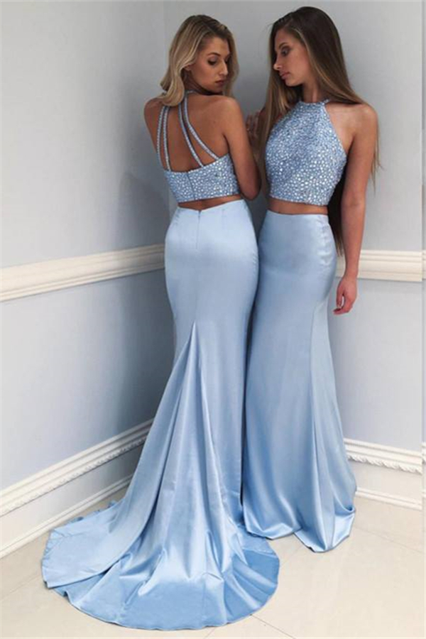Two Pieces   Prom     Dress   2019 Mermaid Halter Beaded Sky Blue Sexy Long   Prom   Gown Evening   Dresses   Robe De Soiree