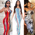 Echoine Frauen Tie Dye Streifen Drucken Liebsten Ärmellose Elastische Lange Kleid Sexy Club Party Dame Bodycon Maxi Kleider Vestidos