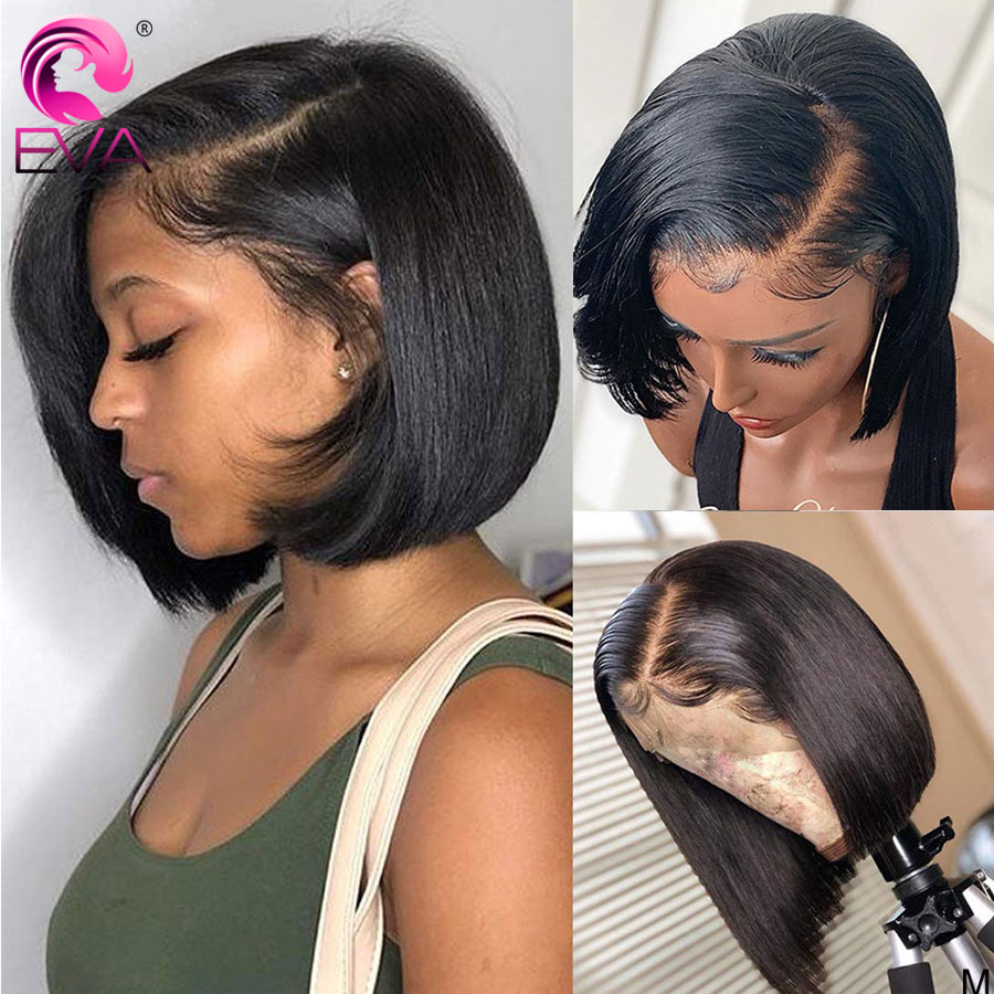 Eva Hair Short Bob Lace Front Human Hair Wigs For Black Women Brazilian Straight Lace Front Wigs Pre Plucked With Baby Hair Remy