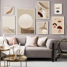 Abstract Geometric Round Line Wall Art Canvas Painting Nordic Minimalism Posters And Prints Pictures For Living Room Decor