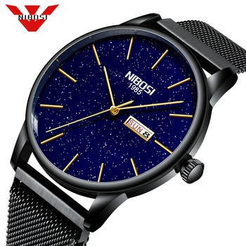NIBOSI Fashion Mens Watches Top Brand Luxury Quartz Watch Men Mesh Waterproof Ultra thin Wristwatch Men Sport Relogio Masculino