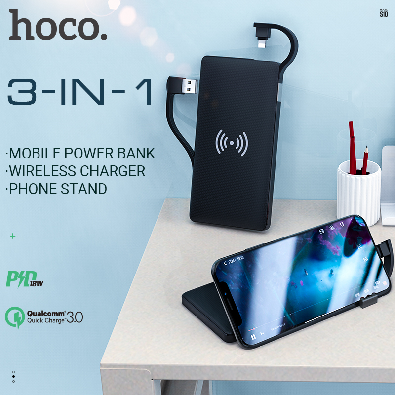 hoco power bank <font><b>10000</b></font> <font><b>mAh</b></font> external battery 5W fast wireless charging QC FCP PD for lightning type c output usb charger slim image