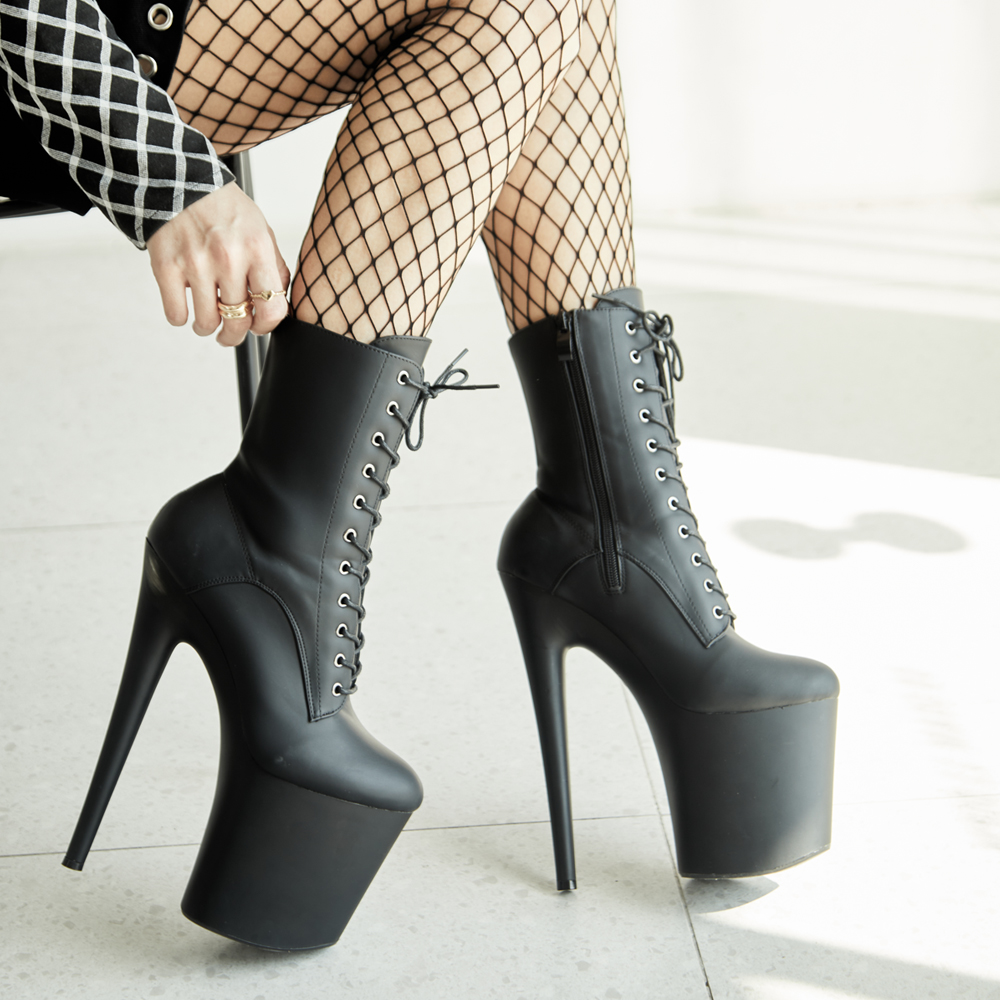 20CM Extreme High Heels Platform Boots Lace Up Sexy