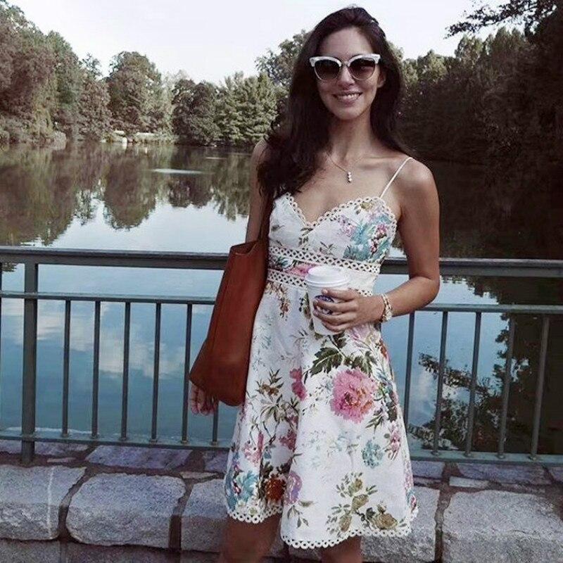 2019 Strap V-neck Print Hollow Out Women Beach Female Holiday Women Mini Dress S-XL