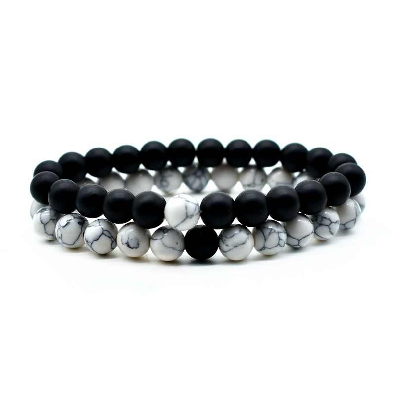 2019 Men Women Natural Stone bracelet 8mm Black Onyx Rhodonite Rose Quartzs Beaded Wrist Stackable Mala Mens Bracelets 2019