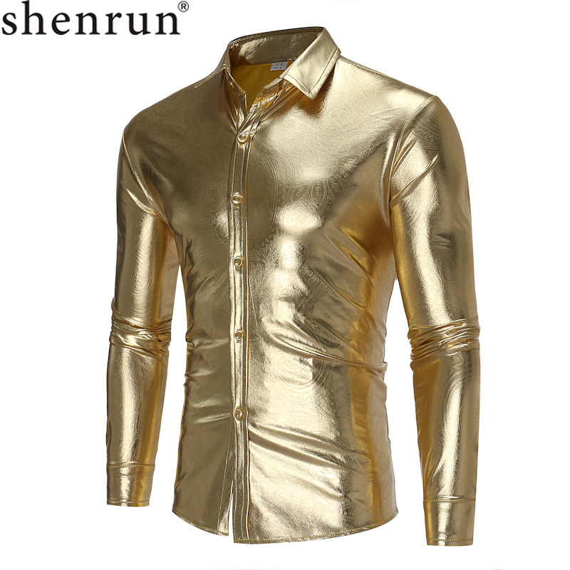 Shenrun Men's Long Sleeve Shirts Stage Show Dress Night Club Singer Host Dancer Fashion Casual Shirt Black Silver Gold Costumes