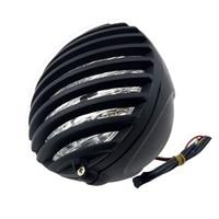 5 Inch Motorcycle Headlight Grill Prison Chopper Bobber Head Lamp for Cafe Racer Bobber Xs650 Cb750 Heritage Softail Spor