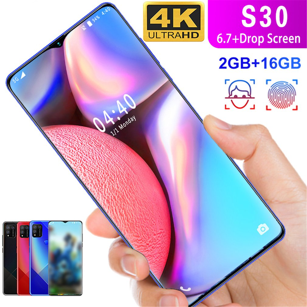 """S30 6.7 """"Water Drop Screen 2 + 16GB True Fingerprint Mobile Phone Real Fingerprint Face Recognition Android 6.0 System"""