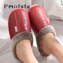 Женские тапочки на плоской подошве; модные плюшевые теплые тапочки на зиму; Женская водонепроницаемая обувь из искусственной кожи; большие размеры 43-50