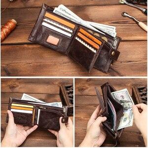 Image 4 - Contacts carteira de couro genuíno dos homens bolsa de moedas masculino pequenos suportes de cartão rfid carteiras ferrolho design casual portfel bolso com zíper