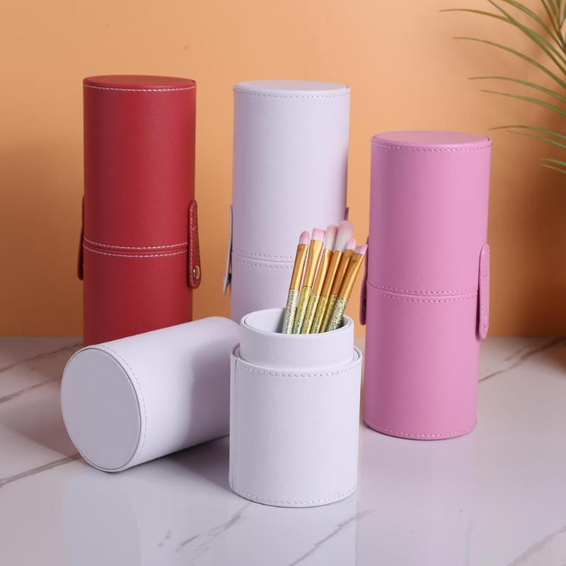Portable Travel Makeup Brushes Round Pen Holder Cosmetic Case PU Leather Cup Brush Holder Tube Storage Organizer Dropshipping