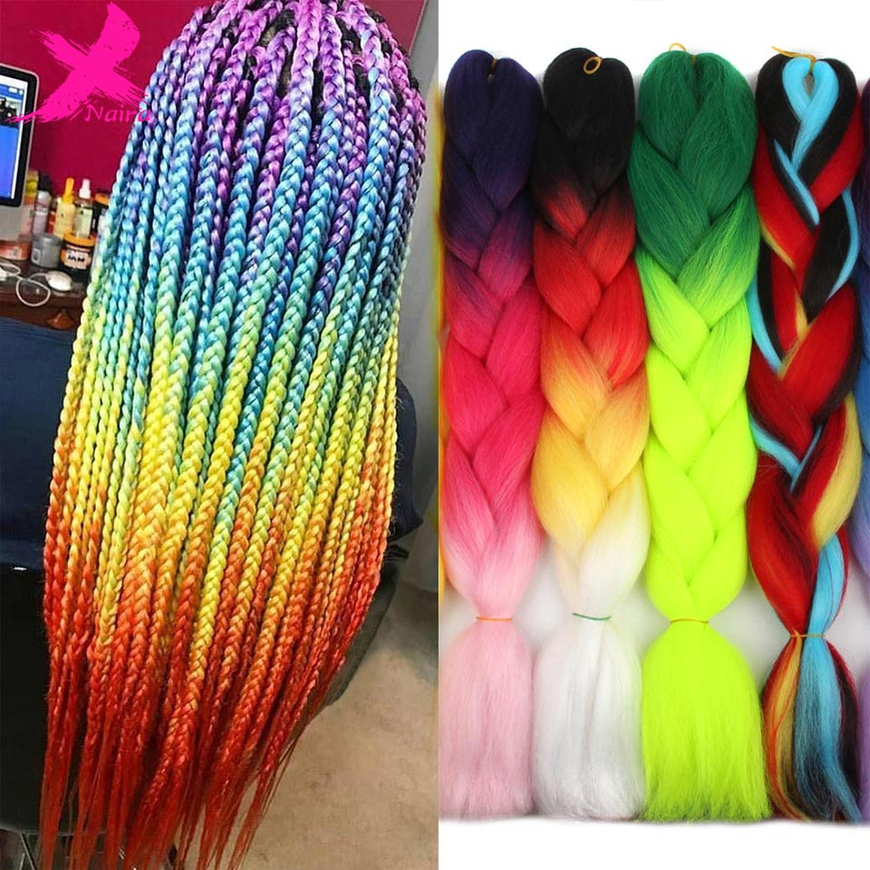 Xnaira Afro Fake Colored Synthetic Jumbo Crochet Hair Accessories Xpression Pre Stretched Braiding Hair Extensions For Braids