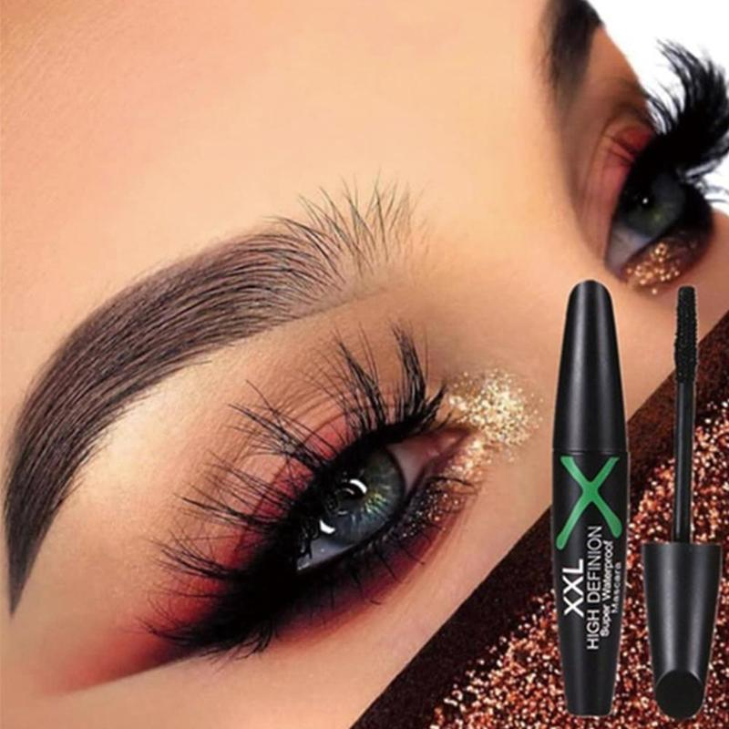 4D Fiber Mascara Long Eyelash Silicone Brush Curving Lengthening Mascara Waterproof Longlasting Makeup Eye Cosmetic