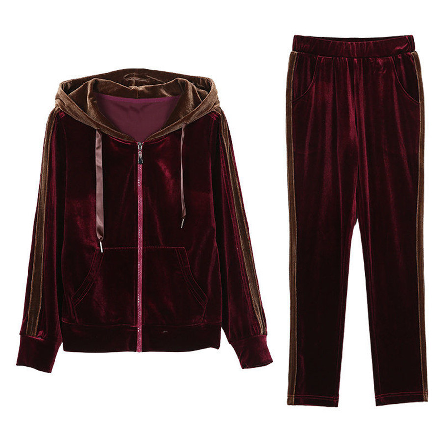 Velvet Two 2 Piece Set Women Tracksuit Outfits Hoodies Top Pant Plus Size Matching Co-ord Sets Winter Fall Sportsuit Clothing