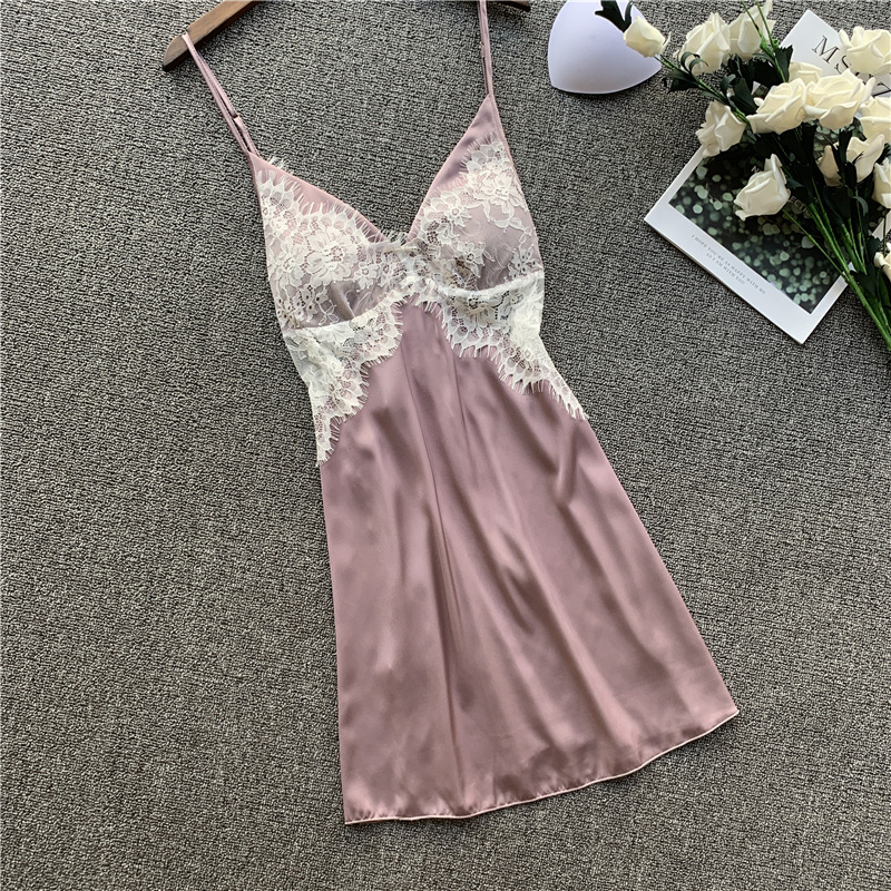 QWEEK Sexy Sleepwear Nightdress Silk Nightwear Nightdress Satin Sleeping Dress Sexy V-neck Lingerie 2020 New Lace Nightgown