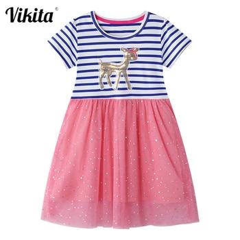 Vestidos de unicornios para niños, vestidos de lentejuelas para vestido de chica a rayas, vestido informal para niñas, ropa de Licorne para niños, vestido de verano para niñas