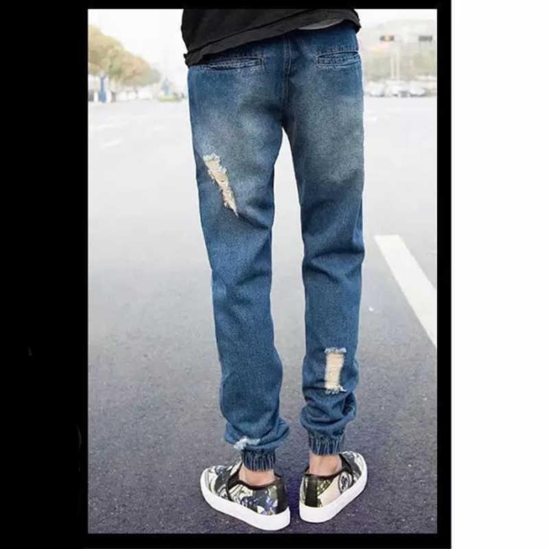Covrlge Mannen Stretchy Ripped Skinny Casual Jeans Vernietigd Gat Afgeplakt Slim Fit Denim Bekrast Hoge Kwaliteit Streetwear MKX059