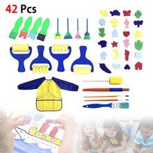 Инструмент малярный 42пк ребенок детский творческий граффити головоломки, губка кисть DIY поставок с длинным рукавом водонепроницаемый фартук