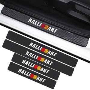 4 pçs estilo do carro 3d fibra de carbono ralliart placa do peitoril da porta do carro adesivo para mitsubishi ralli arte lancer pajero outlander accessori