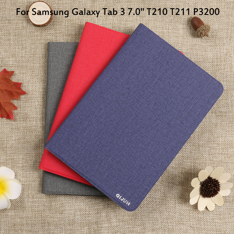 Flip Case For <font><b>Samsung</b></font> <font><b>Galaxy</b></font> <font><b>Tab</b></font> <font><b>3</b></font> 7.0 T210 <font><b>T211</b></font> P3200 Cover Tablet Case Funda Tab3 7.0 T215 Full Protective Pouch Bags image