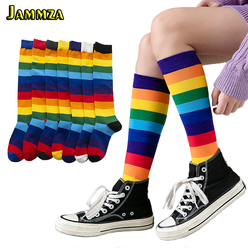 Luxury Rainbow Stripe Knee Long Socks Woman Cotton Fashion Colorful High Quality Female Leg Socks Vintage Hiphop Skateboard Sock