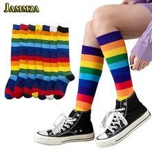 Luxo arco-íris listra joelho meias longas mulher algodão moda colorido de alta qualidade meias perna feminina do vintage hiphop skate meia