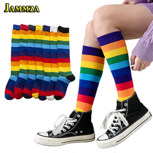 Luxury Rainbow Stripe knee Long Socks Woman Cotton Fashion Colorful High Quality Female Leg Socks Vintage Hiphop Skateboard Sock