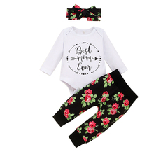 Baby Clothing 3pcs Outfits Newborn Kid Baby Girl Floral Clothes Romper +Pants +Headband Toddler Clothing Set new 3pcs newborn baby boys girls christmas clothes crawl walk hunt romper deer pants hats caps xmas elk outfits toddler baby set