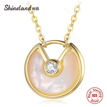 Shineland 925 Sterling Silver Natural Shell Round Necklace For Women Je