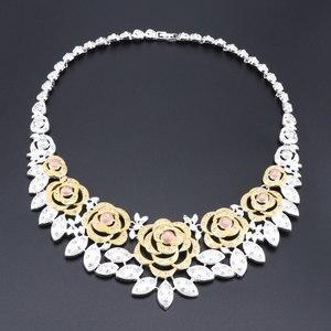 Image 2 - Nieuwe Dubai Bruids Sieraden Sets Voor Vrouwen Gouden Ketting Oorbellen Armband Ring Mode Charme Afrikaanse Bruiloft Nigeria Sets Sieraden