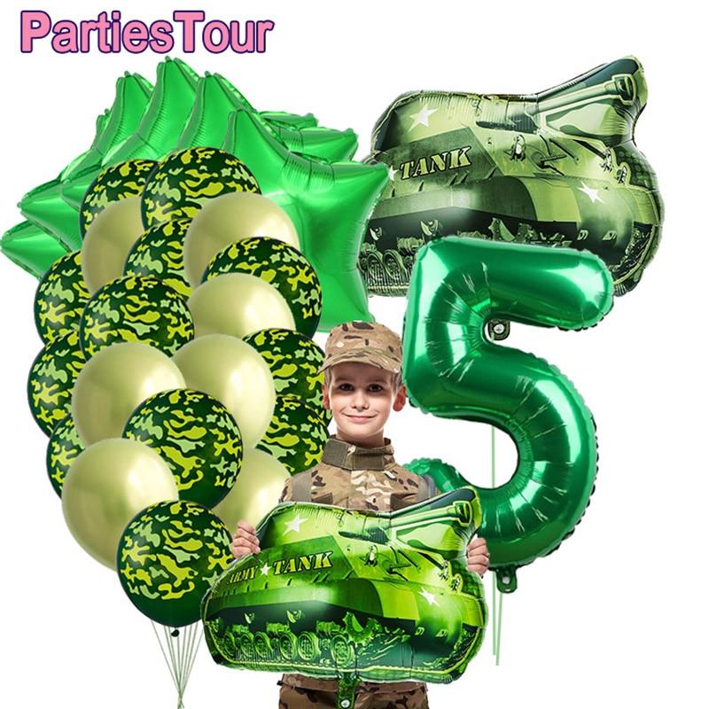 30 шт./компл. камуфляжной расцветки, баллоны военный камуфляж вечерние Тема воздушный шар в виде танка армейские солдатские 3rd 4th 5th 6th 7th ко дню...