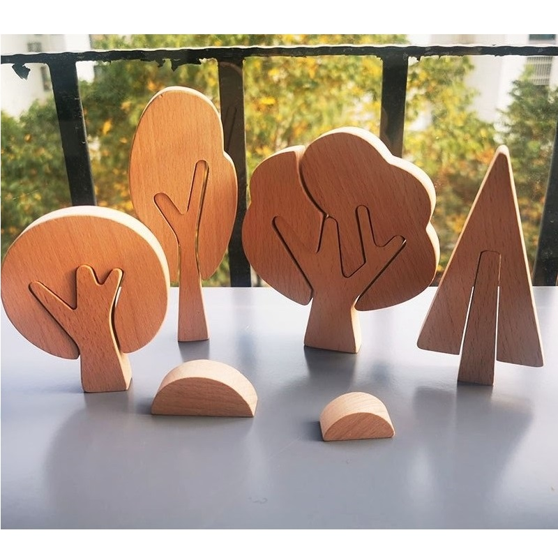 6pcs/set Children Handmade Painting Wooden Trees Grass Toy /Kids DIY Wooden Trees Block Set