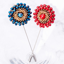 New Arrival Flower Shape Brooch Acrylic Bead Lapel Pin Men Women Romantic Wedding Party Corsage Boutonniere