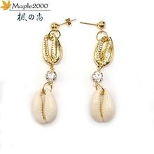 simple Natural sea shell women abalone earrings Gold 2019 Bohemian Drop Beach jewelry fashion crystal earring