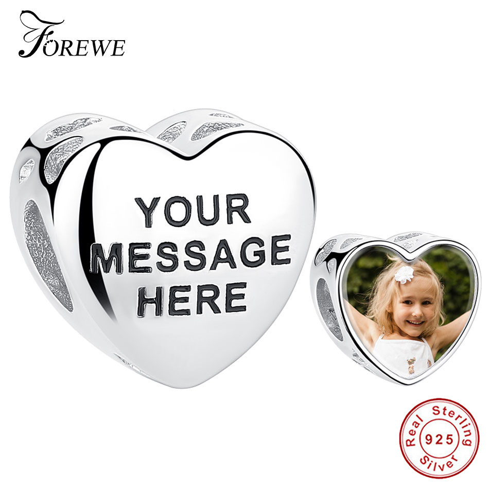 FOREWE Personal Custom Photo Charm 925 Sterling Silver Original Engrave Letter Charm Beads Fit Pandora Women Bracelet Jewelry