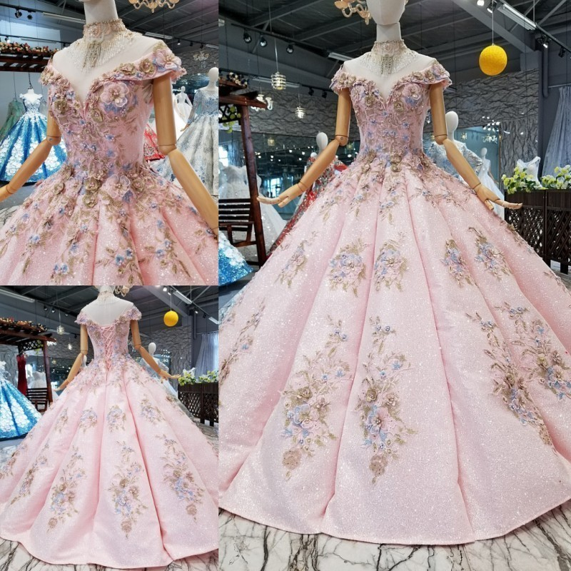 Hot Wedding Cap Sheelveless Back With Button Beading Sequined Appliqued  Ball Gown  Pink Wedding Dress Original Design