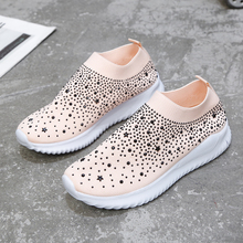 New loafers Women Sneakers Flat Vulcanized Shoes Knit Ladies Slip On Woman Glitter Crystal Loafer Women's Casual Shoes Female knit design slip on sneakers