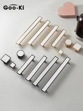 Moderno de luxo acessível branco/preto couro genuíno znic liga armário cozinha alças gaveta puxar ouro mobiliário botão ferragem