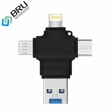 Buy BRU 4 in 1 Card Reader for iPhone5 6s 7Plus 8X MicroSD TF Memory Cardreader for iPad Macbook Type-c Android Phone OTG adapter directly from merchant!