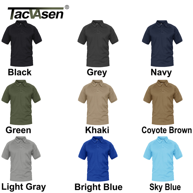 TACVASEN Summer T-shirts Golf Polos Men's Tactical Clothing Quick Dry Mesh Fabric Army Performance Airsoft Tee Shirts Tops Male 6