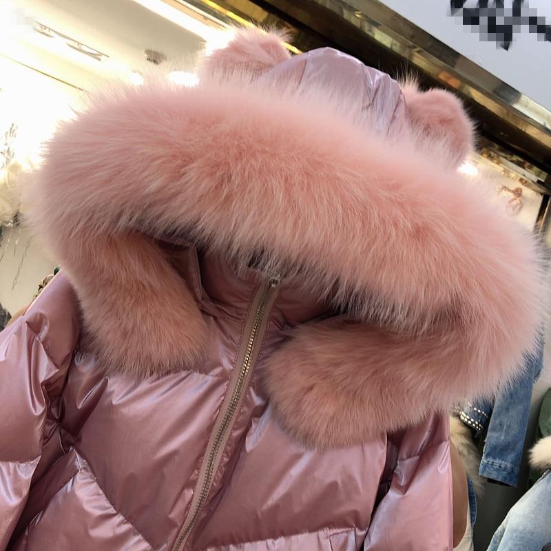 Новинка 2019, зимняя куртка с воротником из натурального Лисьего меха, свободная яркая хлопковая парка с капюшоном, женская короткая куртка, утепленная розовая куртка - 6