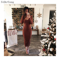 Women Bodycon Pencil Maxi Evening Party Dresses Deep V Neck Long Sleeve Backless Tunic Autumn Winter Clothes FeiDuYoung