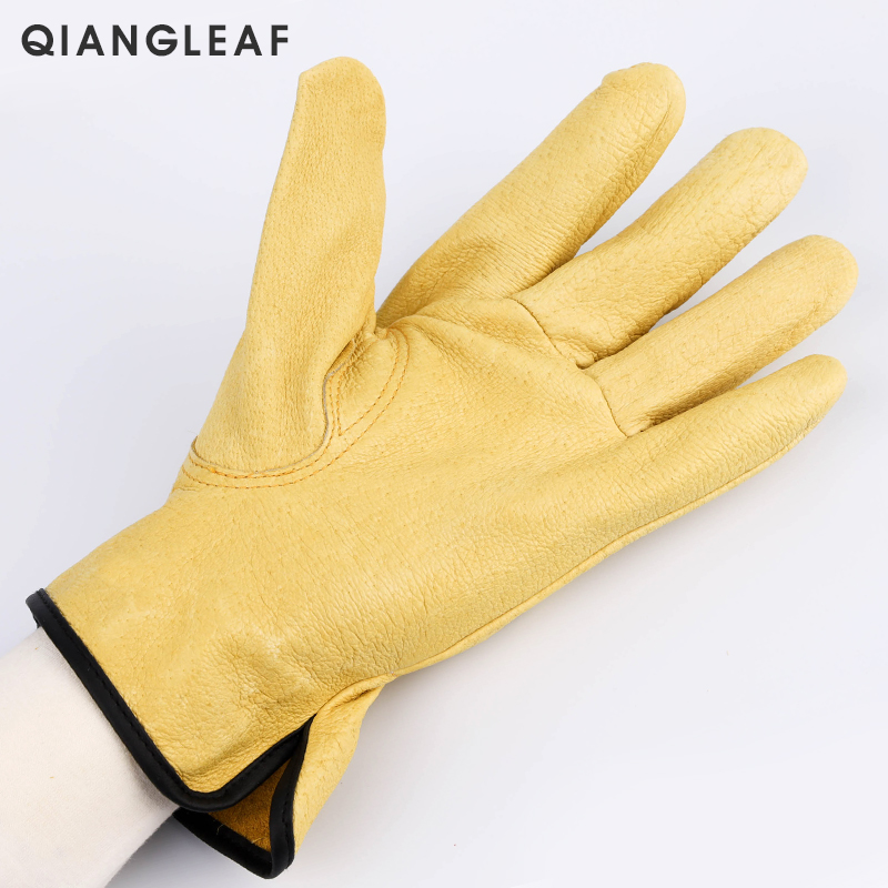 Image 2 - QIANGLEAF New Men's Work Gloves Pigskin Leather Security Protection Safety Cutting Working Repairman Garage Racing Gloves H92-in Safety Gloves from Security & Protection