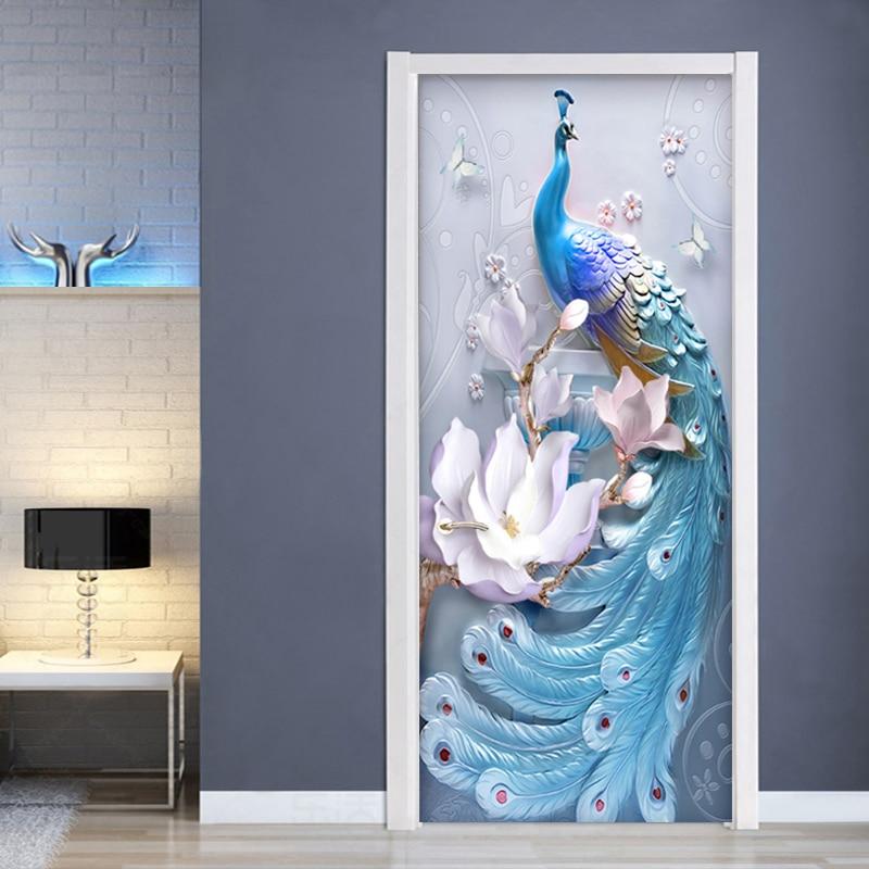 PVC Self-Adhesive Waterproof Door Sticker 3D Embossed Blue Peacock Photo Wall Mural Living Room Bedroom Home Decor Wallpaper 3 D