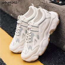 Men Vulcanized Shoes Lace-up Sneakers High Quality youth Man Chunky Dad Noctilucent Male Air Mesh Footwear Walking