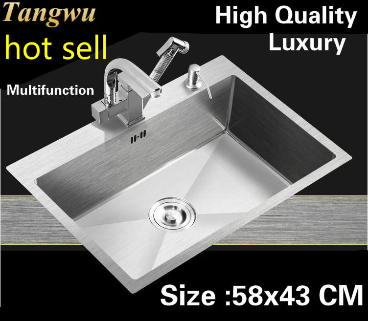 Free Shipping Apartment Multifunction Luxury Kitchen Manual Sink Single Trough 304 Stainless Steel Hot Sell 58x43 CM